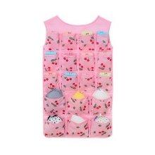 24-Pocket Double-sided Underwear Bra Socks Hanging Storage Organizer Pink Cherry