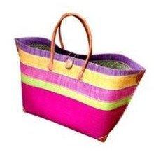 Madagascar Raffia Hot Pink Beach Basket