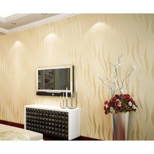 Modern Non Woven Water Plant Pattern Wallpaper 3D Flocking Embossed Wallpaper Roll Living Room Bedroom Light Yellow