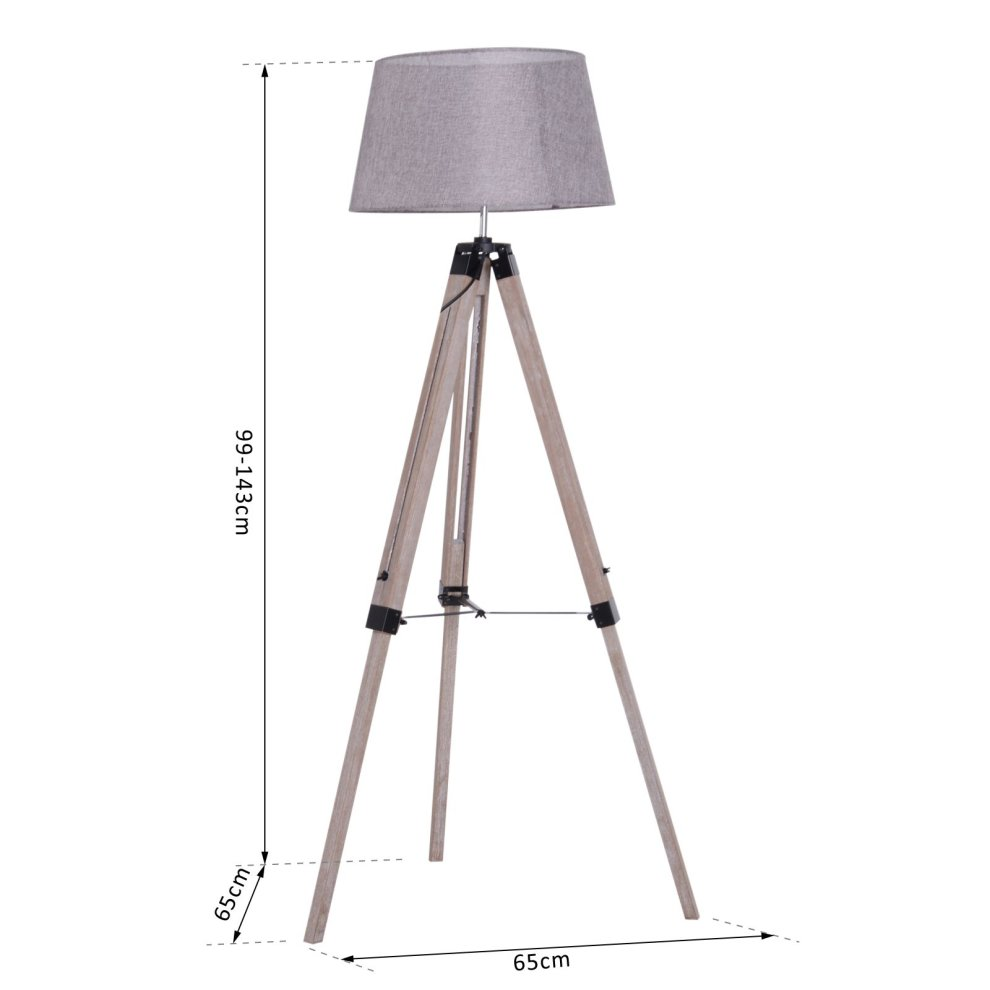 Homcom Free Standing Floor Lamp Bedside Light Tripod Holder Fabric