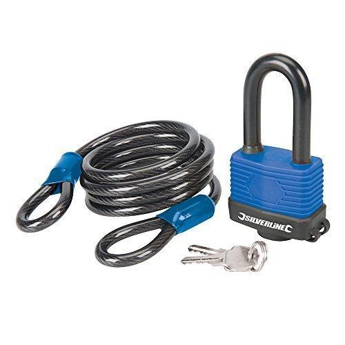 Silverline Looped Steel Security Cable & Weatherproof Padlock 1.8m x 8mm - 18m -  security steel padlock looped cable weatherproof 8mm x silverline
