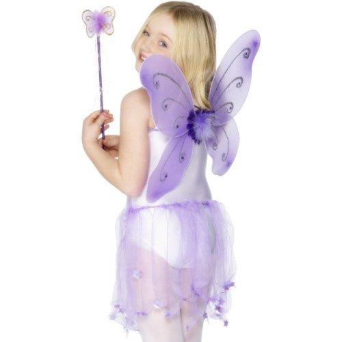 Butterfly Wings Child Purple -  wings butterfly wand fancy dress girls purple fairy smiffys fairytale accessory costume