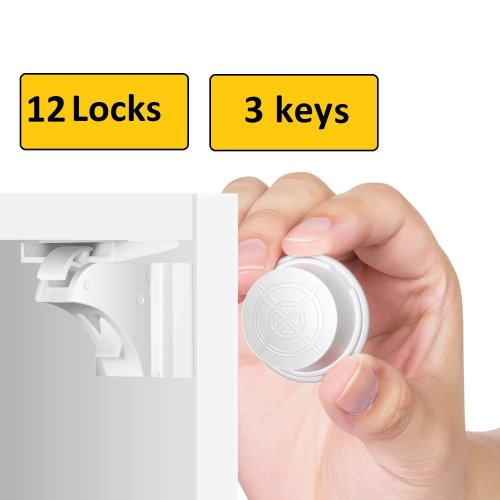 12 Invisible Safety Baby Magnetic Cupboard Drawer Lock Door Child Baby