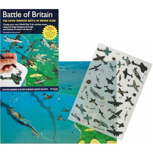 WW2 Battle of Britain Rub Down Transfer Pack Educational British German Aircraft Air War Scenes Colour In