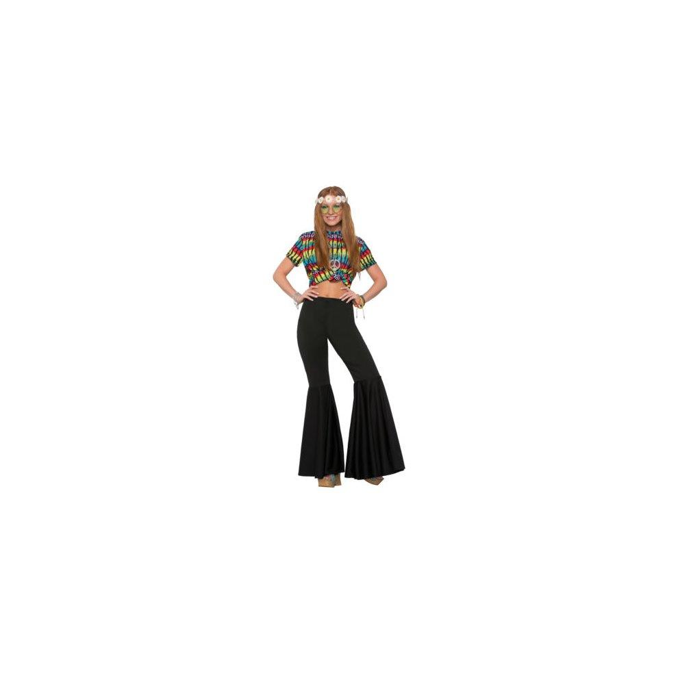 forum novelties 78778 female bell bottom trousers, black, uk size 10