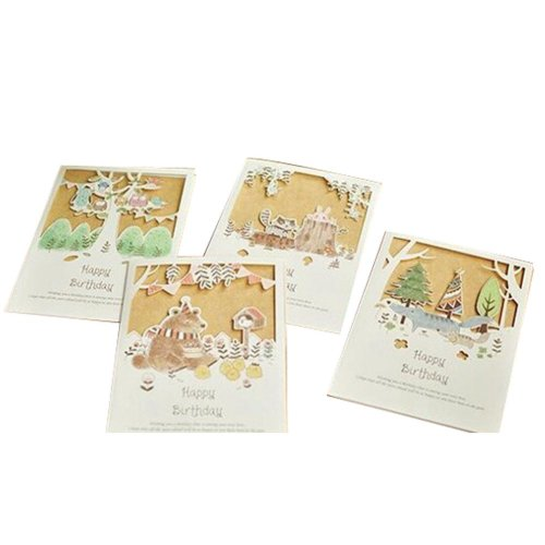 4 Piece Lovely Painting Paper Sculptures Birthday Cards/Random Delivery