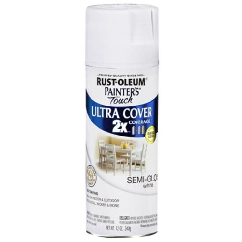 Rustoleum 12 Oz White Semi Gloss Painters Touch 2X Ultra Cover Spray Paint 24 - Pack of 6
