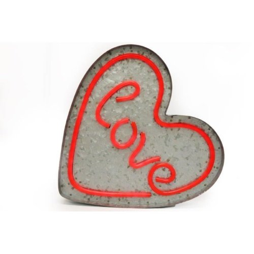 Wall Hanging Light Up Heart Shape Sign Red With Love Led Light Display Decoration Signboard