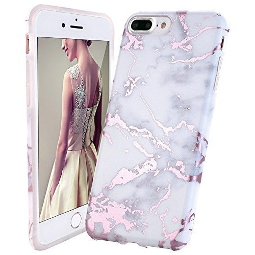 iPhone 8 Plus Case,iPhone 7 Plus Case,DOUJIAZ Rose Gold White Marble Design  Clear Bumper TPU Soft Case Rubber Silicone Skin Cover for iPhone 7