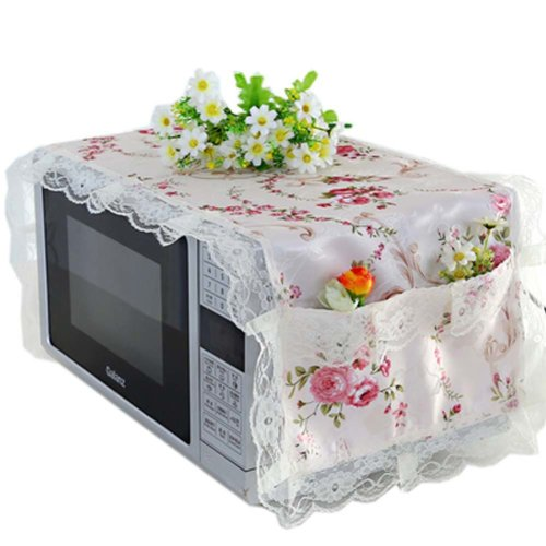 Elegant Flowers Design Microwave Oven Protective Cover Dust-proof Cover, E